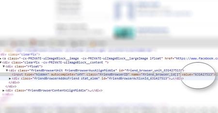 کدهای html صفحهی جستجوی دوستان در فیسبوک